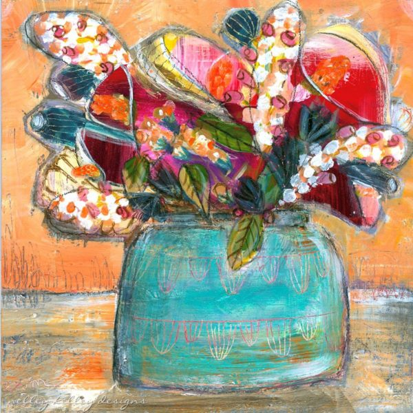 calla lillies in turquoise pottery