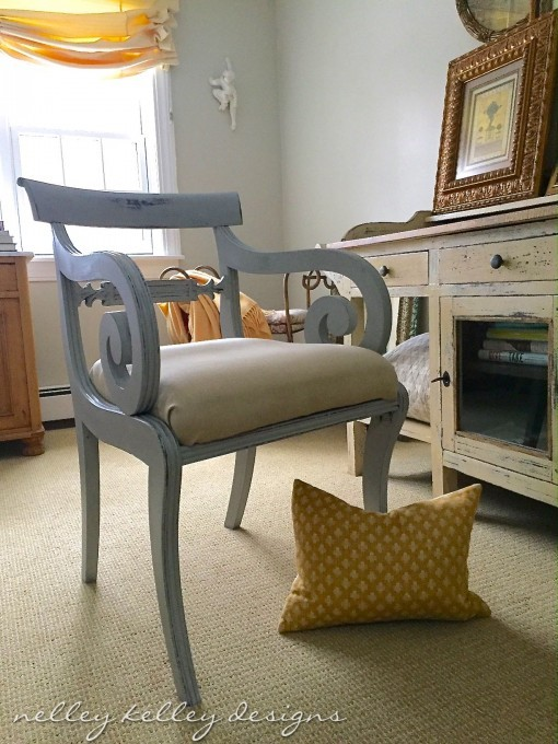 vintage chair wearing Paris Grey chalk paint by Annie Sloan