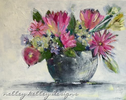 """flowers in grey bowl"" by Ellen Kelley McHale"