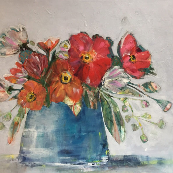 """poppies in a blue jar"" by Ellen Kelley McHale"