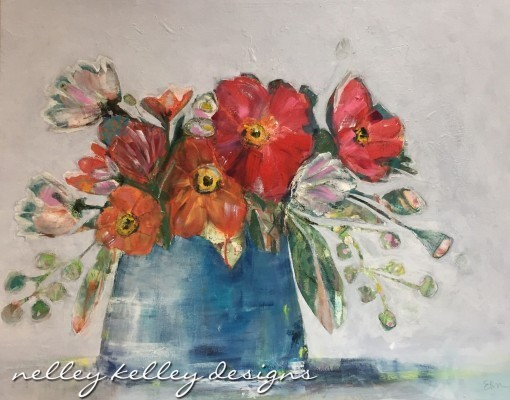"""poppies in blue jar"" by Ellen Kelley McHale"
