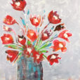 """Red Flowers in Blue Vase"" by Ellen Kelley McHale"