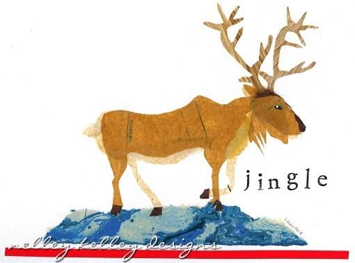 reindeer collage by Ellen Kelley McHale 2012