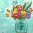 wildflowers in glass jar